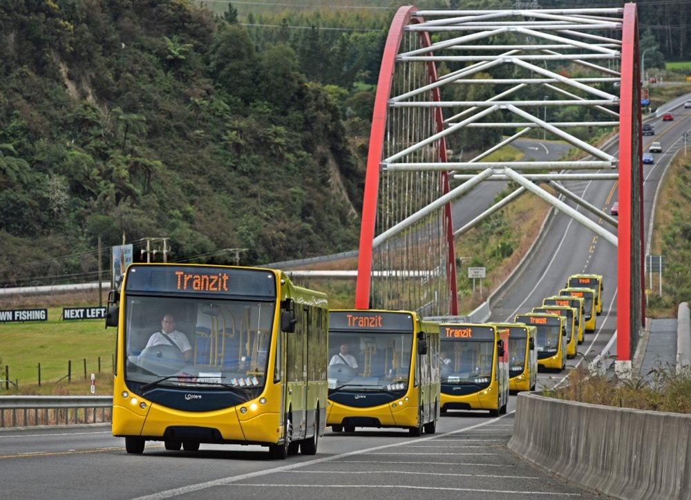 Buses on their way to Masterton from Auckland port last week.