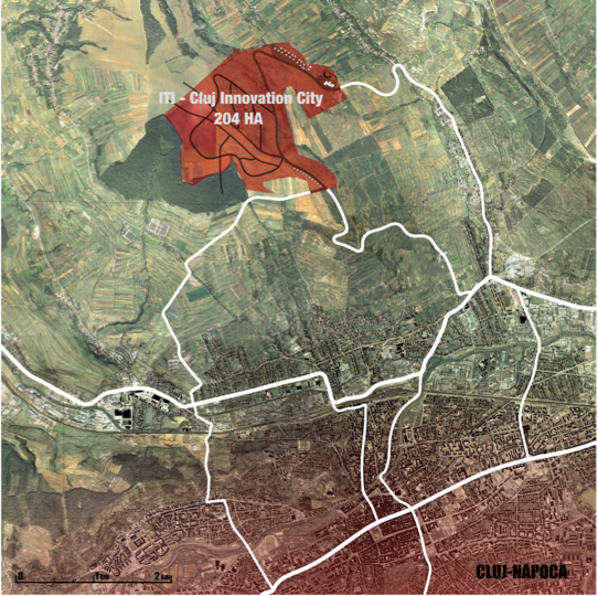 Cluj Innovation City land is allocated north of Cluj-Napoca.