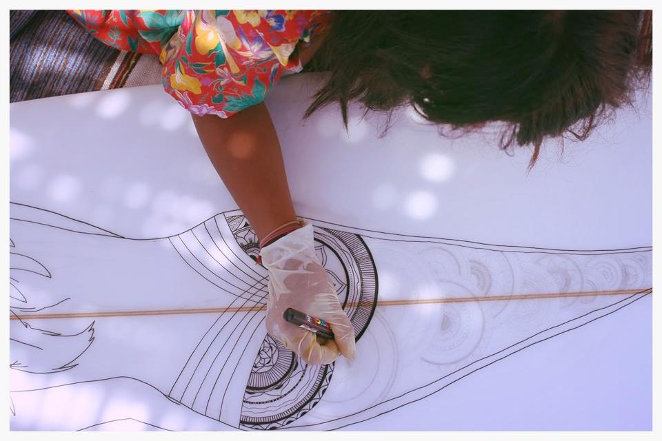 custom surfboard mandala nature