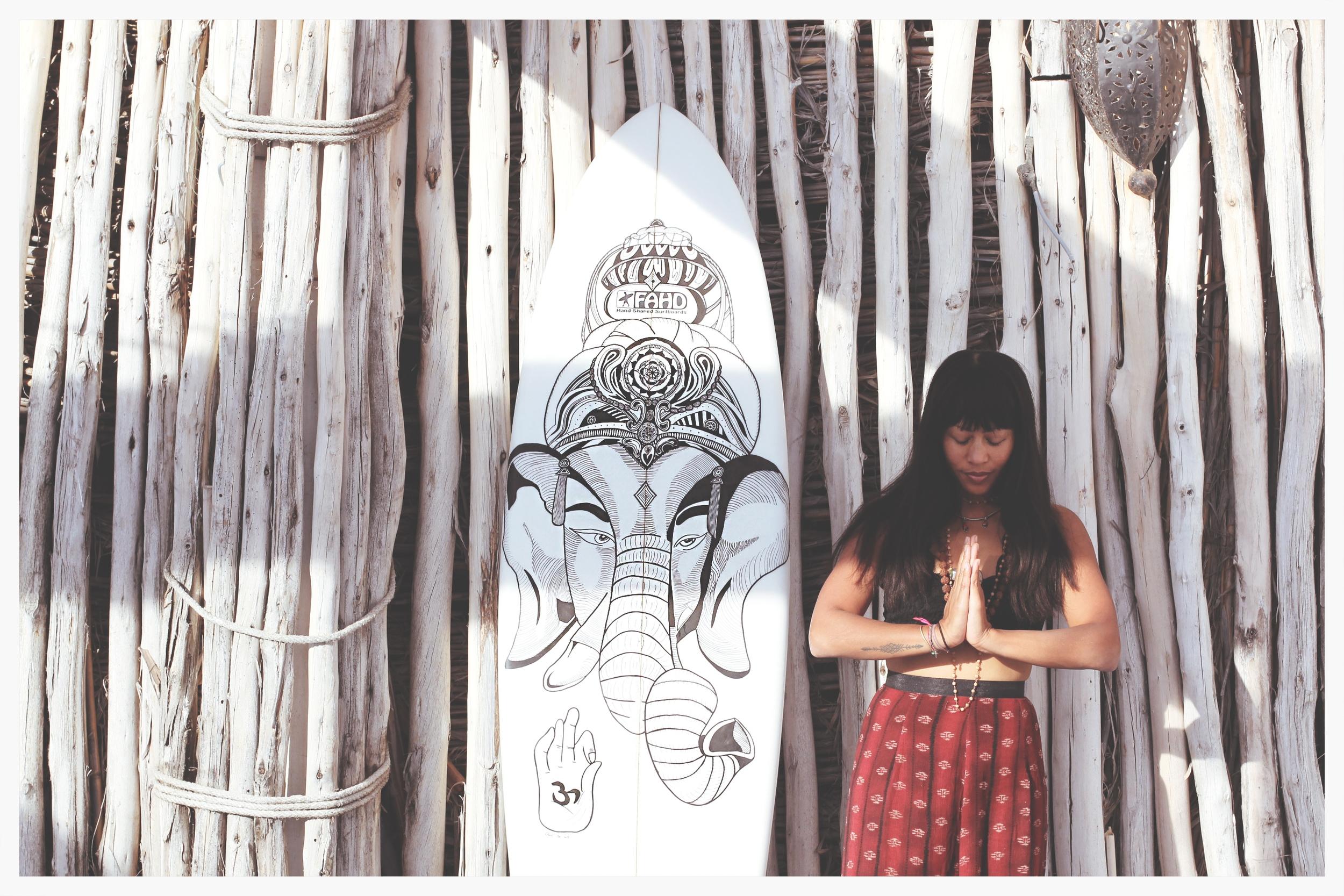 custom surfboard namaste