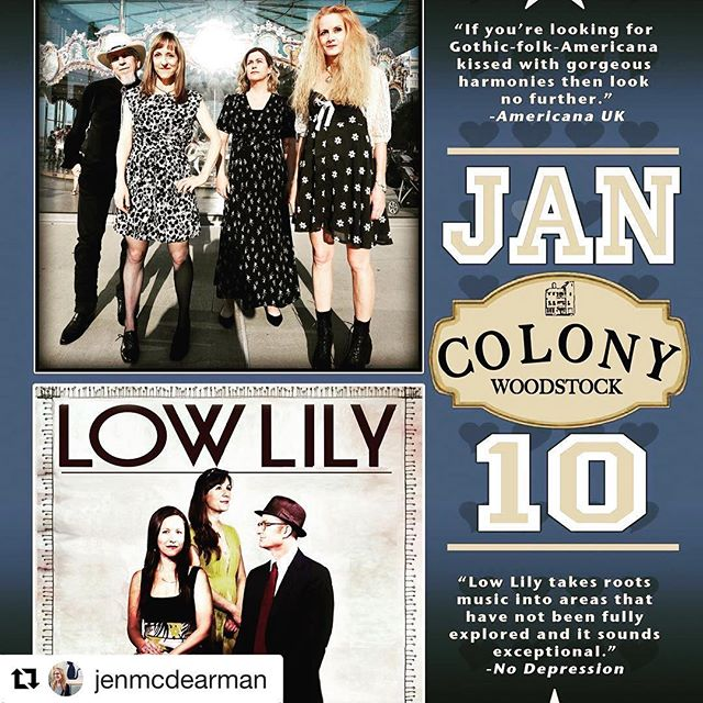 Next week! We can't wait for our first show at @colonywoodstockny with Low Lily! See you in Woodstock 1/10. #Repost @jenmcdearman with @get_repost ・・・ So excited to play the Colony!! And Low Lily is fantastic.😀 Next Thurs! #bobtownmusic #colonywoodstock
