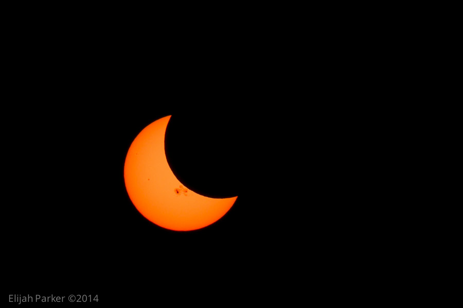 Eclipse at maximum coverage - check out those sunspots!