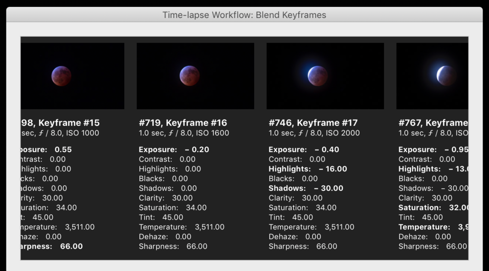 Blending across keyframes with the Timelapse Workflow plugin