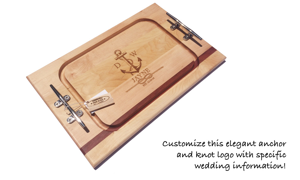 engraved_wedding_gift_steak_cutting_board_with nautical_cleats