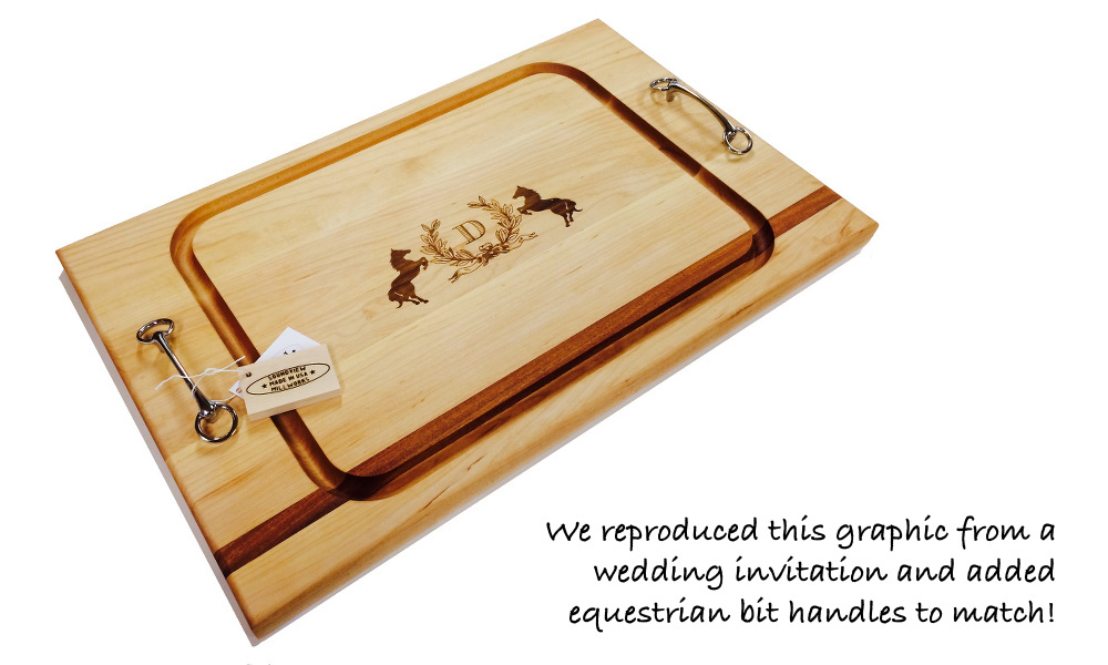 wedding_gift_steak_cutting_board_engraved_with_equestrian_bits