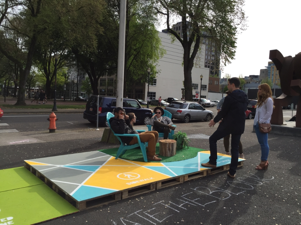 "A ""parklet"" from the Bureau of Planning & Sustainability was perfect for lounging and imagining the future of the park blocks"