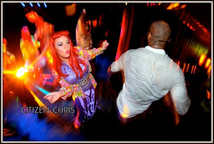 "Banzai!  dancing with  the legionary Andre"" Ondrey"" Walker !!!  The label is named ""Sweat"" or ""Fake the funk"" If If we only knew the fabric technology to make that label glow ????  G eek alert!  moment captured by Citizen Chris"