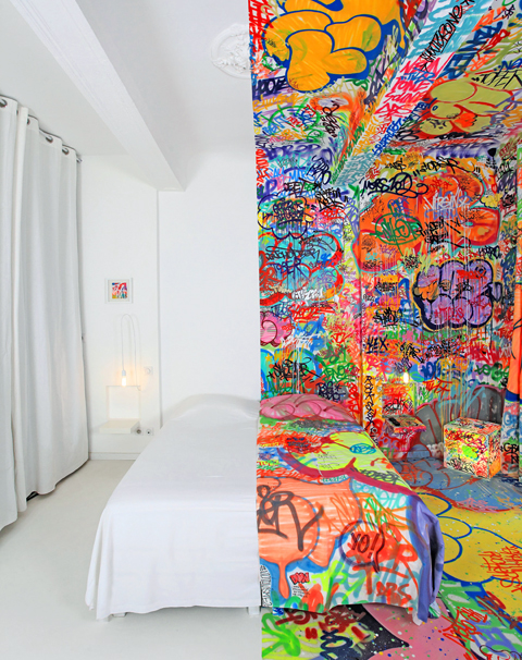 One of the six hotel rooms in Au Vieux Panier that doubles as an art installation, This one  was designed by the French graffiti artist Tilt-    chelebelleslair