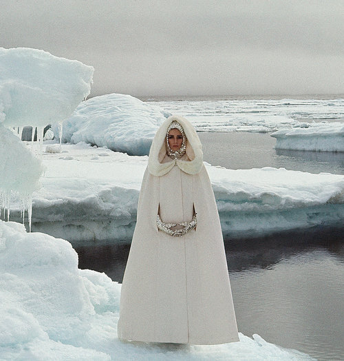 goodbye glaciers….hello fashion opportunity..wait ..what? ..actually since this photo is from 1964 Vogue , I trust the ice  has melted away by now leaving another stranded polar bear. I suppose we'll need to thank photographer John Cowan for capturing their beauty while they were still here..nice gloves too. now where's my white cape ? - lady miss kier….www.ladykier.com