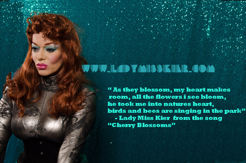 "Flash forward Fridays !  ""As they blossom,my heart makes room,for all the flowers…I see bloom, he took me into natures heart, birds and bees are singing in the park""- Lady miss Kier from the unreleased song ""cherry blossoms"" http://www.mixcloud.com/ladykier/  https://www.facebook.com/pages/miss-Lady-Kier/296808489716?fref=ts 2012 photo: Liz ligory"