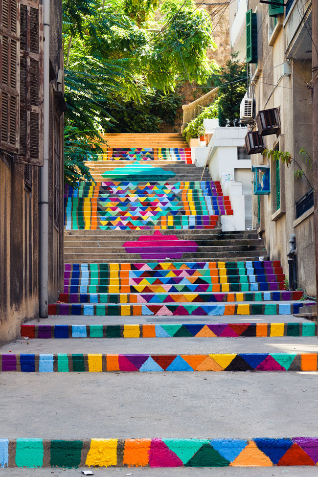 travelingcolors :       Patterned stairs, Beirut | Lebanon   (by  streetartutopia )