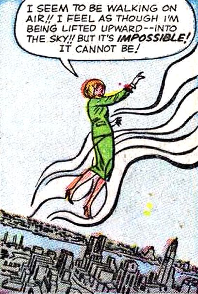 superdames :     Walking on air.      —Fantastic Four #17 (1963) by Stan Lee & Jack Kirby, inked by Dick Ayers