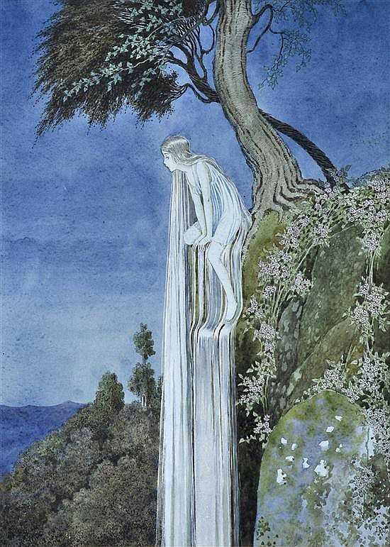 walking thru the park, towards the waterfalls….I heard someone singing and stopped in my trax….it was she…the waterfall fairy…her tears made a tiny  lagoon that trickled into the pond.- lady miss kier…thankyou  venusmilk  for posting this lovely illustration.of  The Waterfall Fairy  by  Ida Rentoul Outhwaite     www.ladykier.com