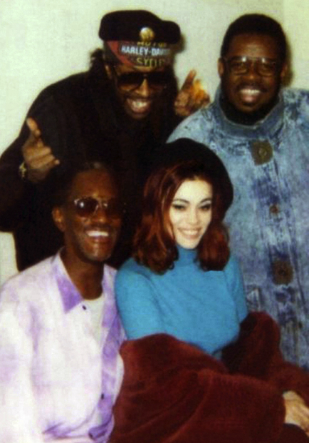 Bernie Worrell, Bootsy, Fred Weselly and me-1990!  If i never sent Bootsy  our demos…i might never have met these other two cats. thanks Boots!- Lady Miss Kier