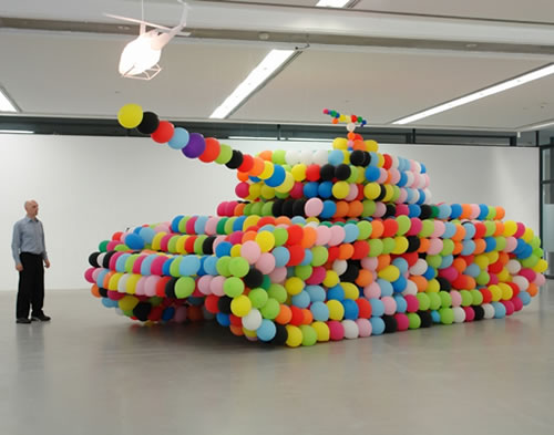"""war is stupid and people are stupid""- boy George iammylan: The balloon tank (German Panther) is made by German artist Hans Hemmert. At the end of the exhibition, the balloons were popped."