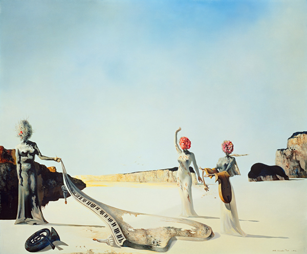 1936 Dali - Three Young Surrealistic Women Holding in Their Arms       the Skins of an Orchestra- posted by  genericdirtythings