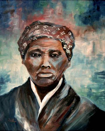 "Celebrate the good grace of Harriet Tubman…She broke the chains of her own slavery & followed the north star  to pennsylvania. She  returned 19 times over ten years to rescue more than 300  enslaved people with the force of a train…a train on the underground railroad.   She lead  their way thru the woods from safe house to safe house  until they crossed the mason dixon line into freedom . She once overheard some white men discussing her wanted poster . No matter what ….she kept going . With her bravery , courage  and big heart , she became known as ""Moses"" . She also helped recruit men for John Brown's Harpers ferry , struggled for women's right to vote after the war , and set up a retirement home . U.S. history is black history . Every month is black history month   painting by : Ginette Callaway http://ginettecallaway.imagekind.com/store/imagedetail.aspx/f225386e-6b8f-4510-8382-88bc76386351/Harriet_Tubman"