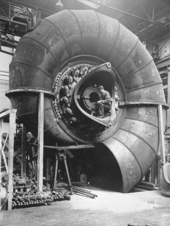 the sacred spiral !     messytimetravel :     c. 1930 : Building spiral turbines Curated by Amanda Uren  Source: Retronaut