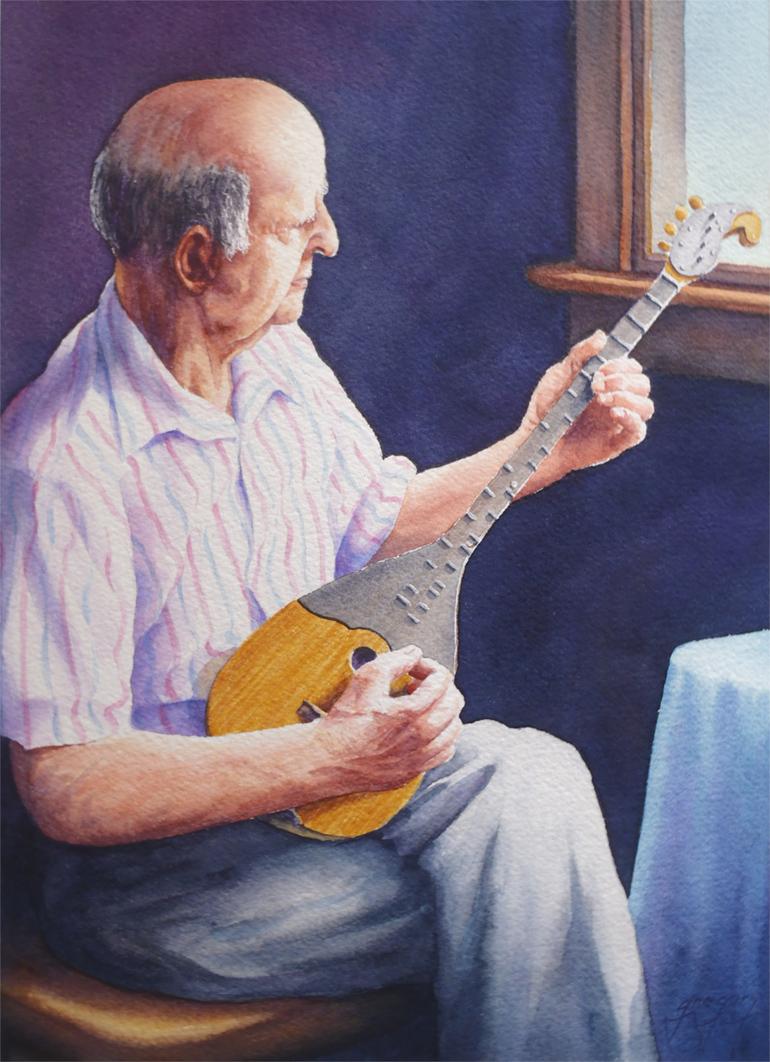 Dad Playing Tambura