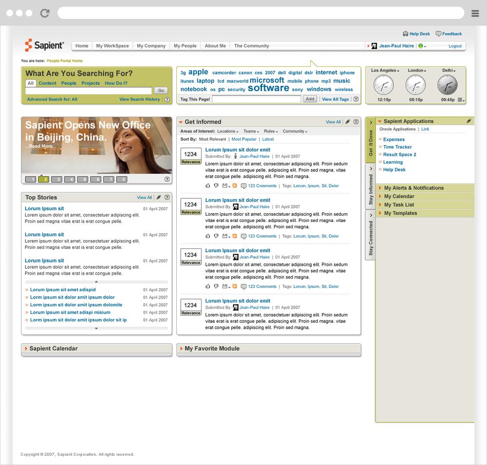 Sapient People Portal - Landing Page Mockup