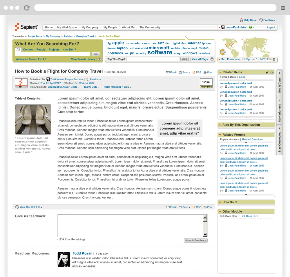 Sapient People Portal - Content Page Mockup