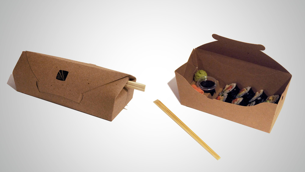 Resealable lid. Internal chopstick storage. Pop-up tray secures soy sauce and elevates wasabi and ginger.