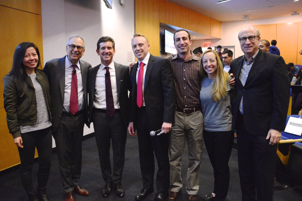 MIBA Members Tom Williams, Justin Gomes and Katie Spradley with Professors Todd Jick and Bruce Kogut and Johnson & Johnson Chairman and CEO (and Army veteran) Alex Gorsky during our annual  Leadership and Ethics: Military in Business Speaker Series. March 2018.