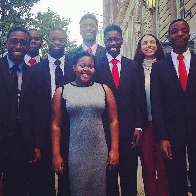 Open Hydrant Youth Members, Kadeem Penny, Kurtis Asante, Stephen Durosaiye, Lisa Wilson, Isaiah Gill, Kelvin Amartey, Milagros Pagan and Tavan Thomas in Chicago, Illinois at The Catholic Forensic League Speech Nationals.
