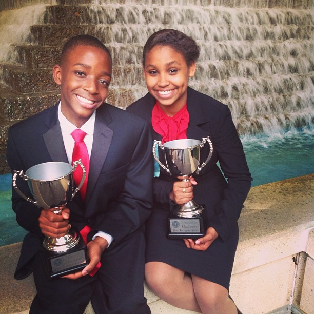 Open Hydrant Youth Members, Tavan Thomas and Manuela Reyes. The Middle School Speech and Debate Association National Champions, Duo Interpretation, 2013 in Birmingham, Alabama.