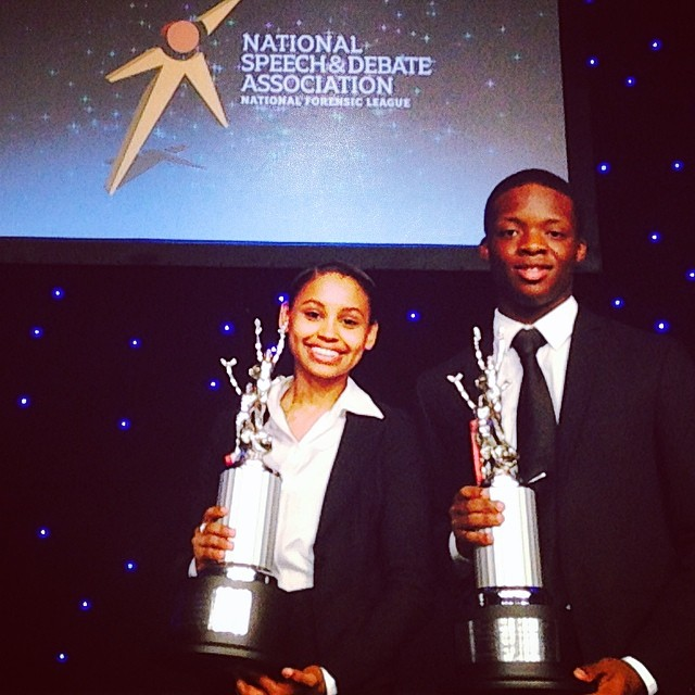 Open Hydrant Youth Members, Stephen Durosaiye and Manuela Reyes place 6th @ The National Speech and Debate Tournament in Kansas City, Missouri. June. 2014.