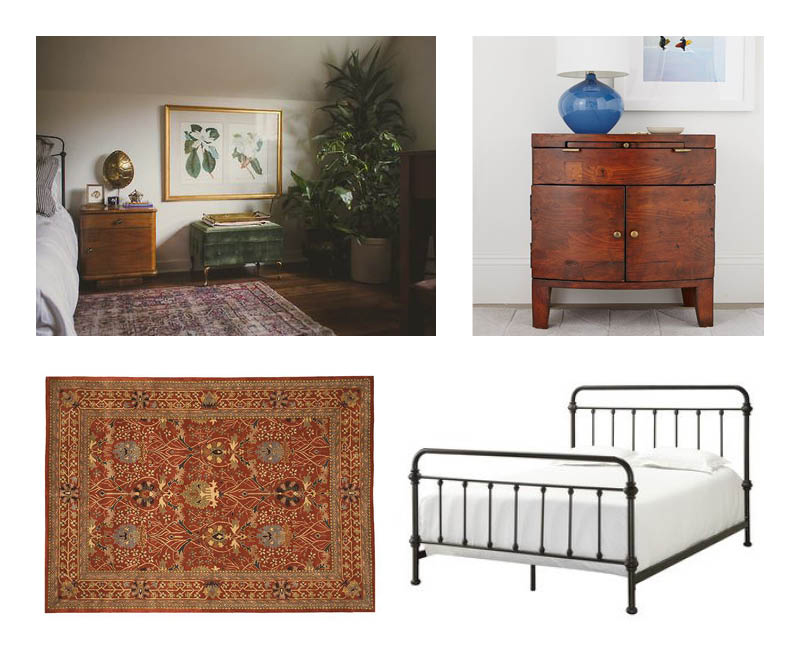 Tribecca Home Giselle Antique Dark Bronze Graceful Lines Victorian Iron Metal Bed   Hand-tufted Wool Rust Morris Rug   West Elm Rounded Wood Nightstand