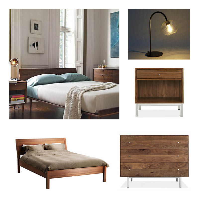 IKEA NYVOLL Bedframe   Room & Board Hudson Three-Drawer Dresser   Room & Board Delano Nightstand   West Elm Eclipse Table Lamp