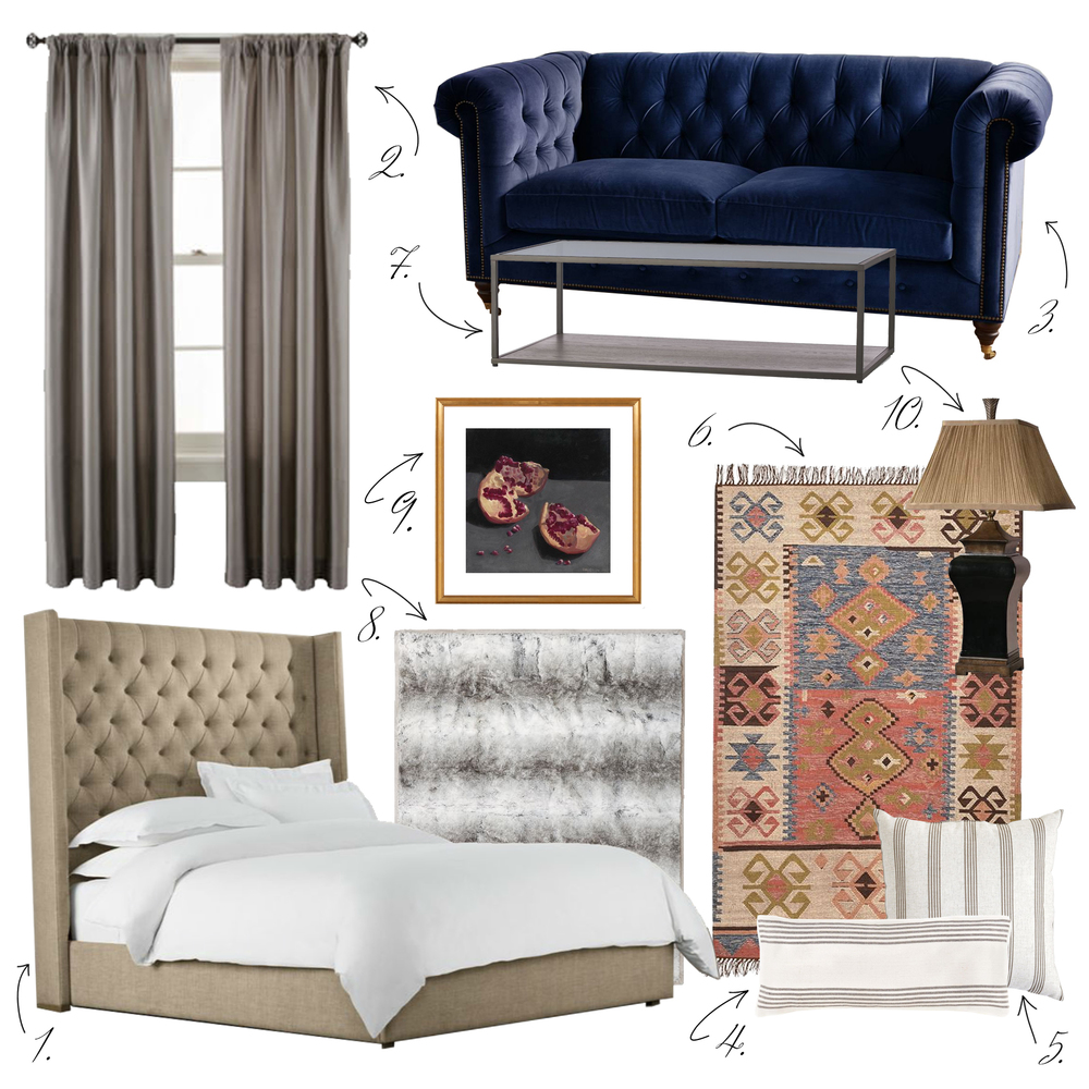 1. Bed   2. Curtains   3.  Sofa   4. Pillow   5. Pillow   6. Rug   7. Coffee Table   8. Throw   9. Print   10. Lamp