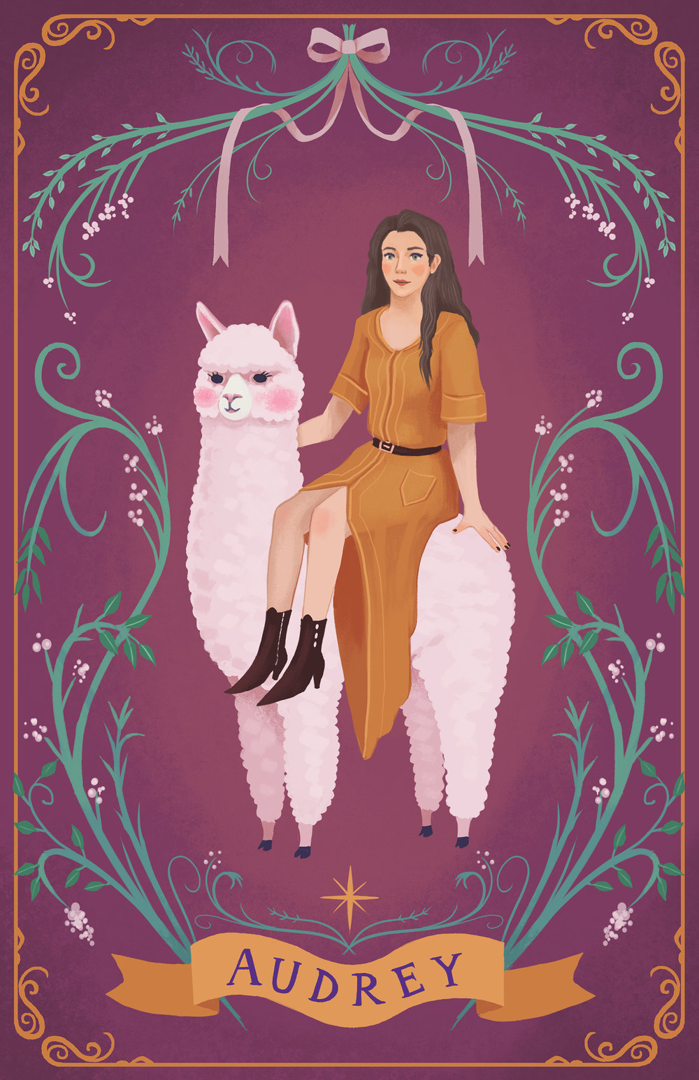 Audrey - A commissioned portrait of Audrey riding an alpaca.