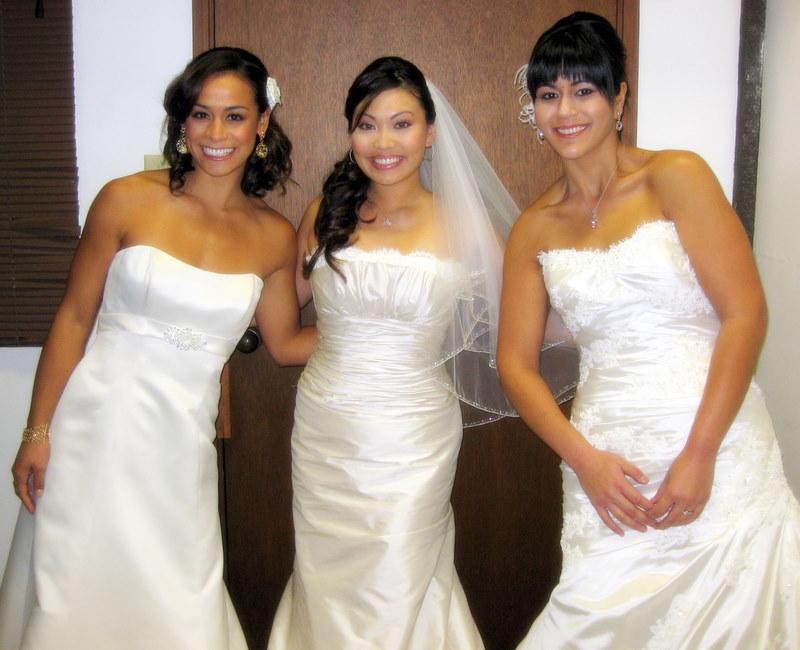 Racine,Danika and Leah. Racine is in a spring 2009 design by Mikaella ; Danika is in a spring 2009 design by Paloma Blanca; Leah is in 2009 San Patrick