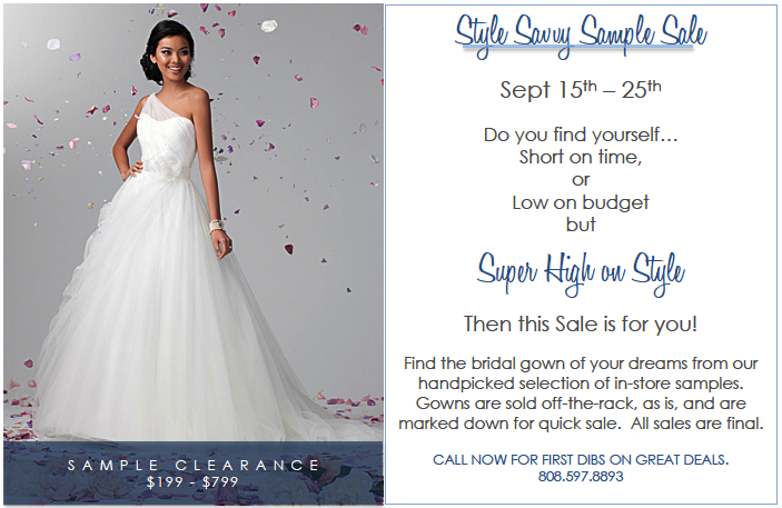 Style Savvy Sample Sale — The Bridal Boutique