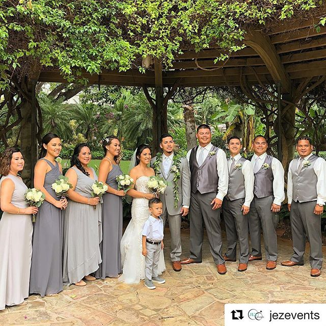 "Congrats to our #bride Ashley! Gorgeous in her @amare_couture #weddingdress 💕 And #bridesmaids are so pretty in @billlevkoff . . .  #Repost @jezevents 👰🏻💗 ・・・ ""All because two people fell in love..."" . . . Photographer & Videographer @puremediahawaii"