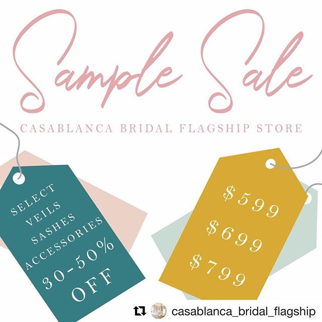 As a #diamondaward retailer for @casablancabridal we are offering the same #sale! Ours ends July 14. Make your appt today!  #Repost @casablanca_bridal_flagship ・・・ Call to schedule your appointment today!!!