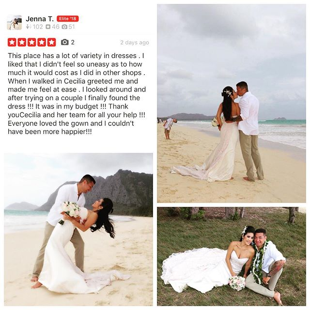 #thankyou Jenna for the awesome @yelp review and #gorgeous photos! #congratulations #weloveourbrides @beloved_bridals style: #affection #BL221 #hawaiiwedding #love 💕🤵🏽💍👰🏽