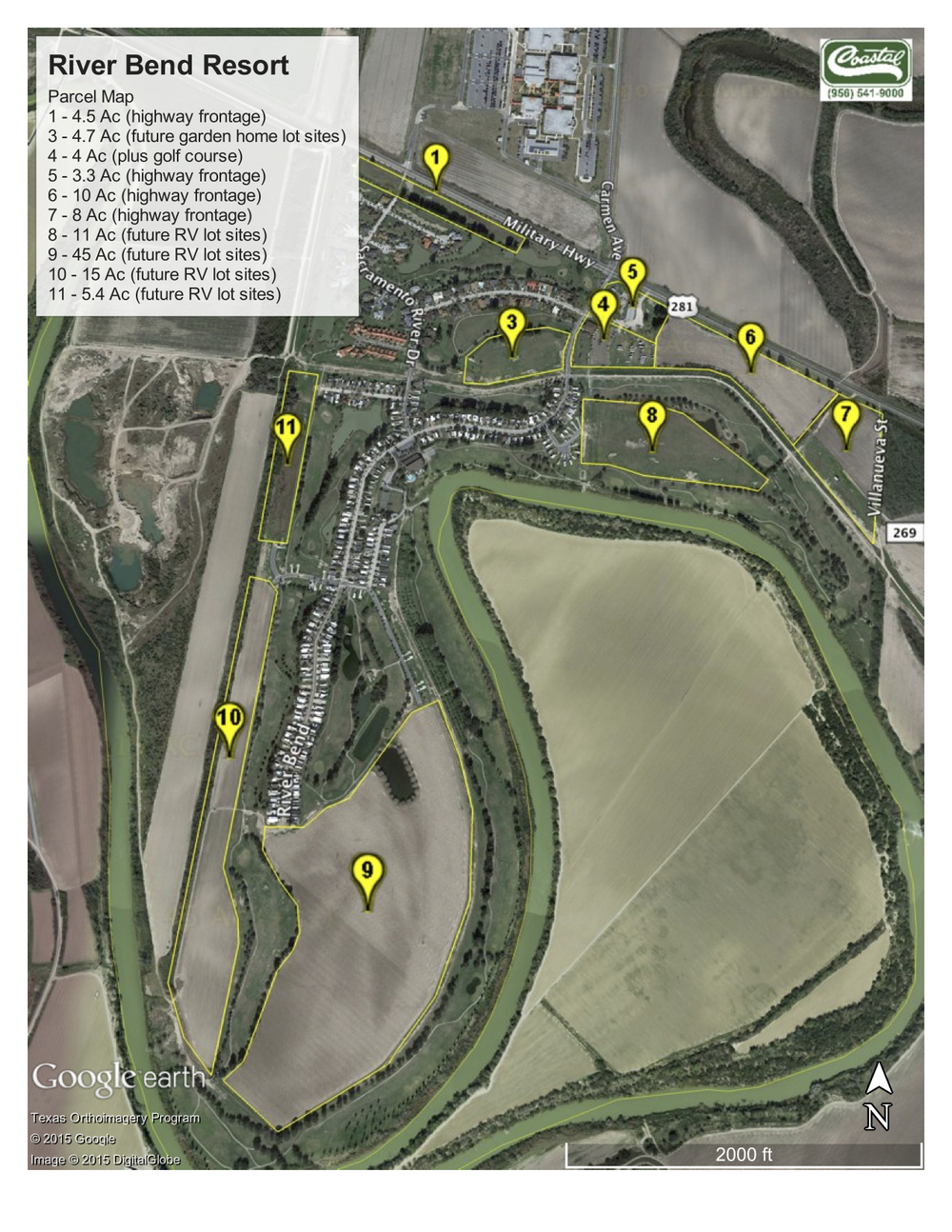 Highlighted in Yellow are the Investment Opportunity Parcels   28 acres (approx.) of Commercial Parcels with frontage on Hwy 281.  65 acres (approx.) of Commercial Parcels to the left and rear of the property (south of the levy)  15 acres (approx.) of Future Phase Residential Development available just behind the commercial parcels