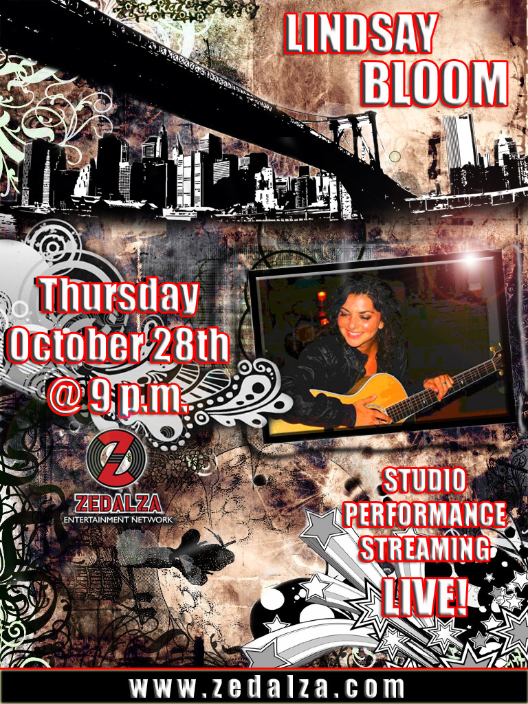 STUDIO PERFORMANCE FLYER FOR SINGER/SONGWRITER, LINDSAY BLOOM