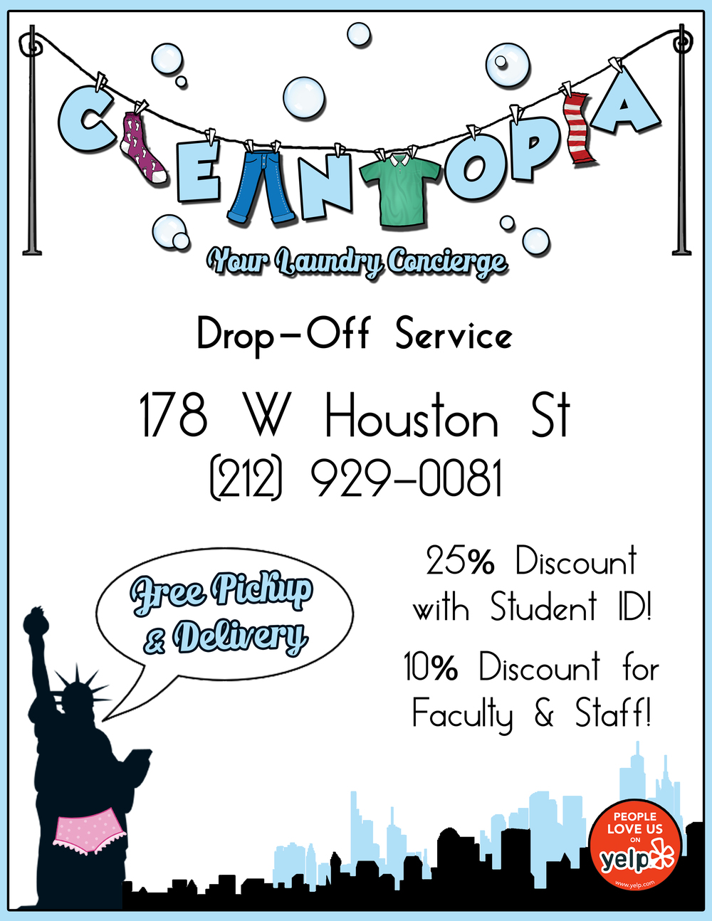 FLYER/LOGO DESIGN FOR CLEANTOPIA LAUNDRY SERVICE