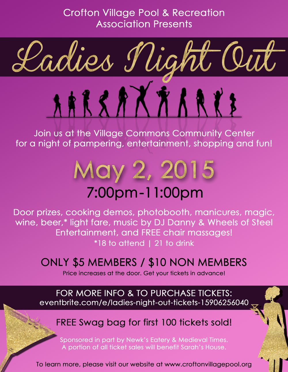 "FLYER FOR CROFTON VILLAGE ""LADIES NIGHT OUT"" EVENT"