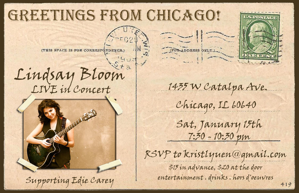 PROMOTIONAL CONCERT FLYER FOR SINGER/SONGWRITER, LINDSAY BLOOM
