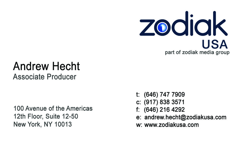 BUSINESS CARDS FOR ASSOCIATE PRODUCER, ANDREW HECHT