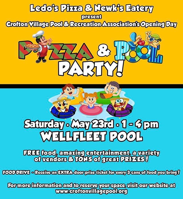 @CVPRA's Opening Day Pizza & Pool Party, sponsored by @LedoPizza and @NewksEatery. Sponsored in part by @Medieval_Times, @Grumps_Cafe and Eat My Cakes of #Maryland 🍕👙☀️💦🎉 . #shiradanielsdesign #croftonvillage #croftonmaryland #crofton #poolparty #pizzaparty #pool #pizza#party #prizes #freefood #wellfleetpool #ledopizza #newkseatery #medievaltimes #grumpscafe #grumpscafecrofton #eatmycakes #sponsors #artist #design #graphicdesign #graphicdesigner #graphicdesigns #graphicdesigncentral