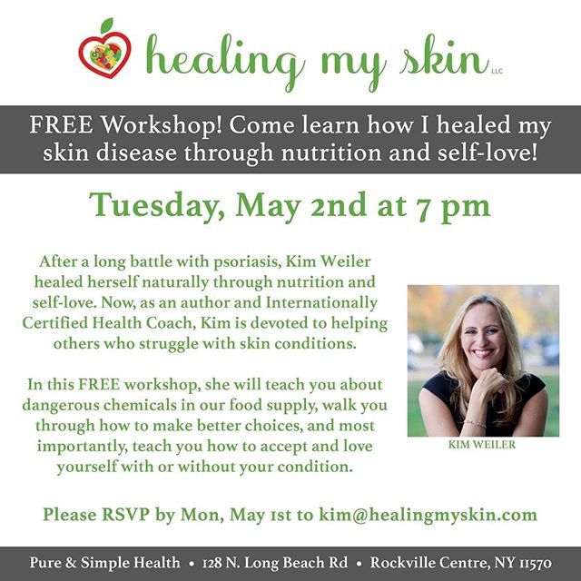 FREE Workshop by @HealingMySkin, with a design by yours truly. If you're in the tristate area, check out this event! 🍏❤️🥑 . #healingmyskin #psoriasis #selflove #selfhelp #nutrition #healing #skin #healthyfood #healthyeating #healthylifestyle #holistic #healthcoach #anappleaday #takecontrol #skincondition #acne #eczema #dermatitis #skindisease #foodismedicine #freeworkshop #newyork #rockvillecentre #longisland #graphicdesign #graphicdesigner #graphicdesigns #shiradanielsdesign