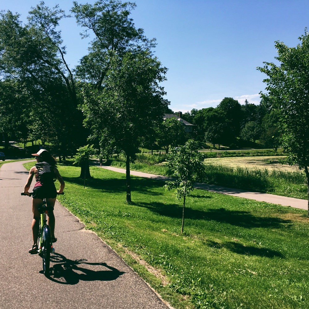 Biking around the green belt on nice rides. Minneapolis has definitely earned its title of most bike friendly city in the US.