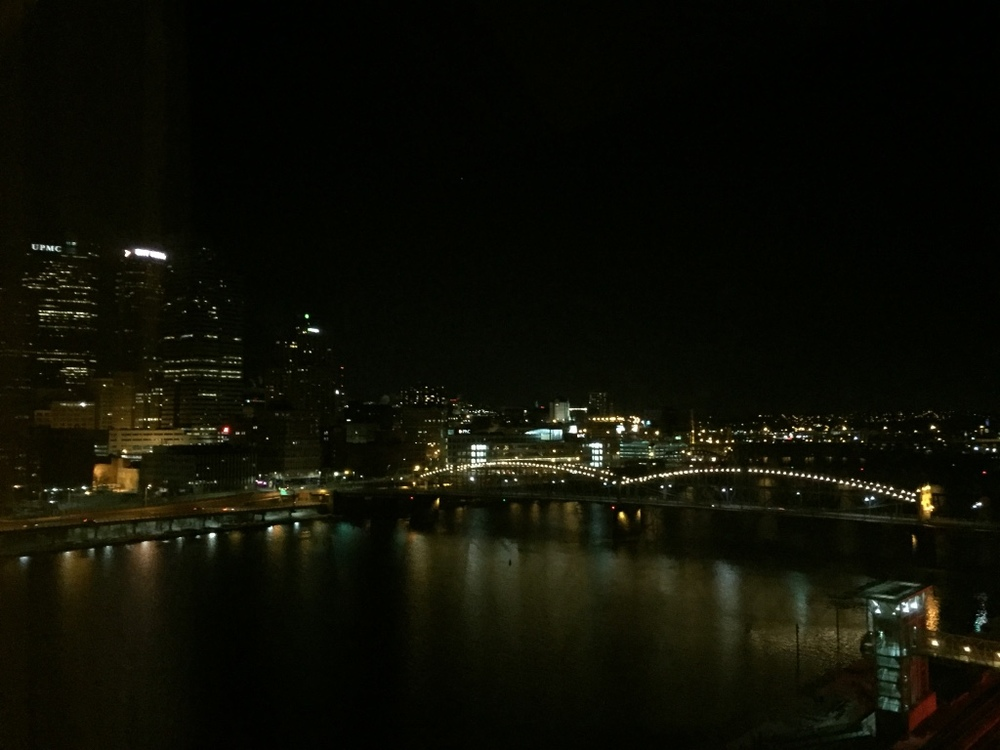 Our view of the nighttime skyline.