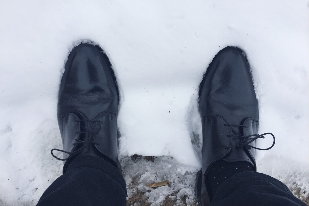 Not the best day to rock expensive dress shoes, eh?